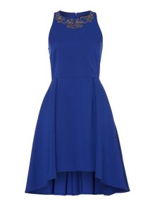 Little Mistress Sleeveless Embellished Neck Fit and Flare Dress