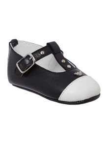 Armani Junior Newborn Contrast Ballerina Shoes
