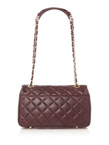 Quilt burgundy flap over shoulder bag