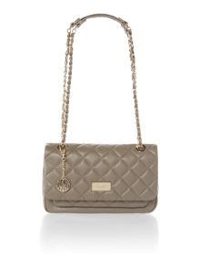 Quilt taupe large flap over shoulder bag