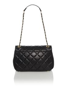 Quilted black large flap over shoulder bag