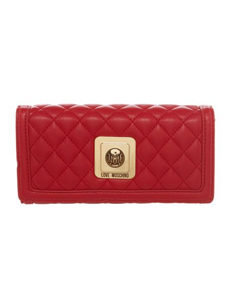 Love Moschino Red quilt large flap over purse