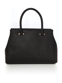 Saffiano black large satchel bag