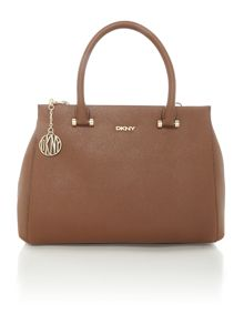 Saffiano tan large satchel bag