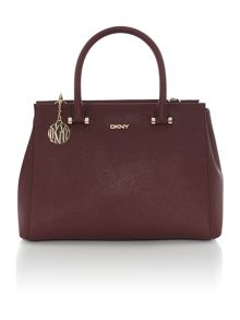 Saffiano burgundy large satchel bag