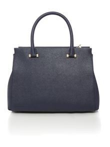 Saffiano navy large satchel bag