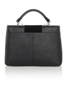 Saffiano suede black flap over satchel bag