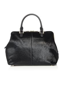 Riverside haircalf black large satchel bag