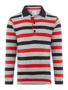 Armani Junior Boys Striped Long Sleeve Polo Shirt
