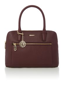 Tribeca burgundy double zip satchel bag