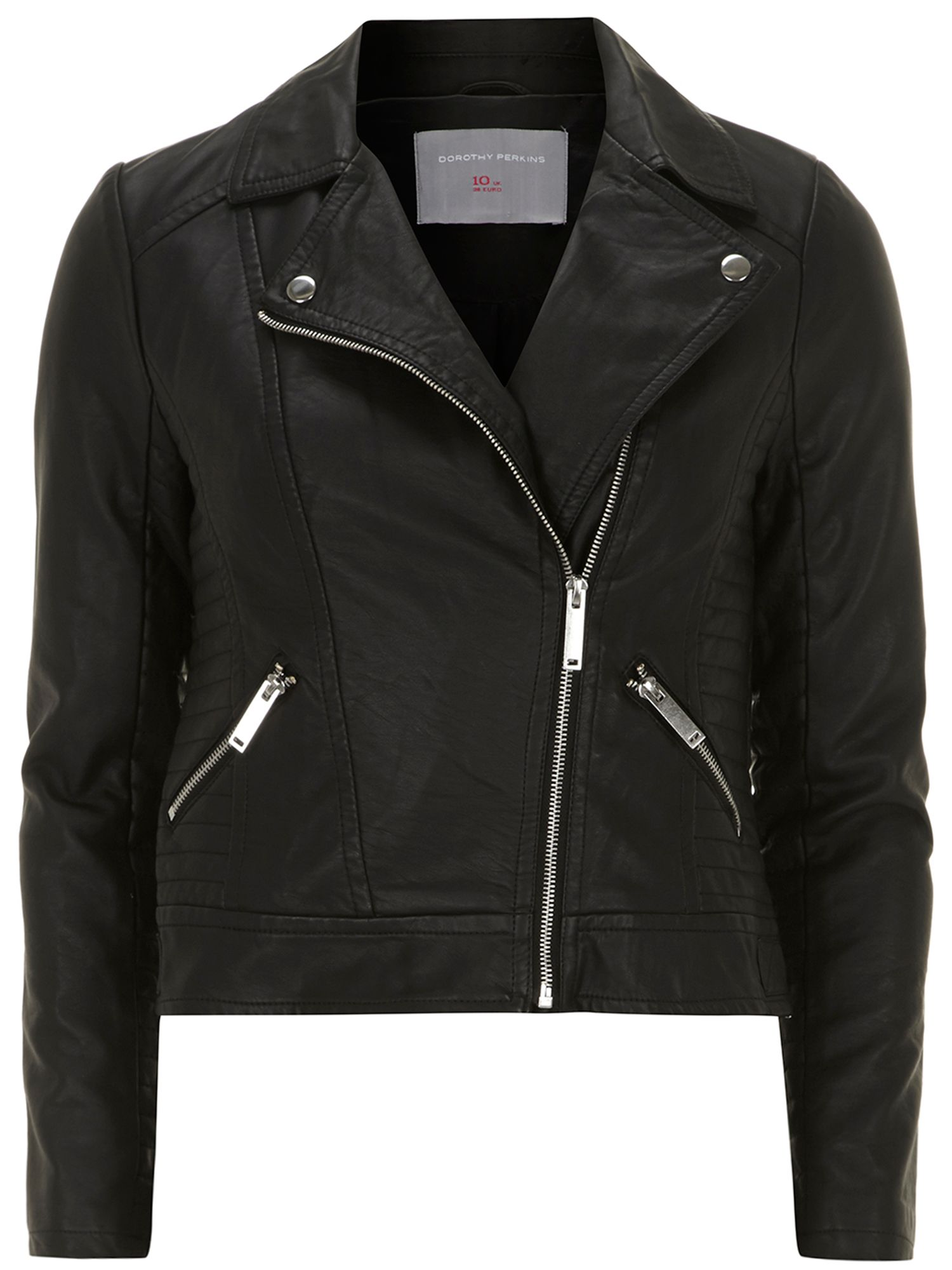 Petite leather look biker jacket