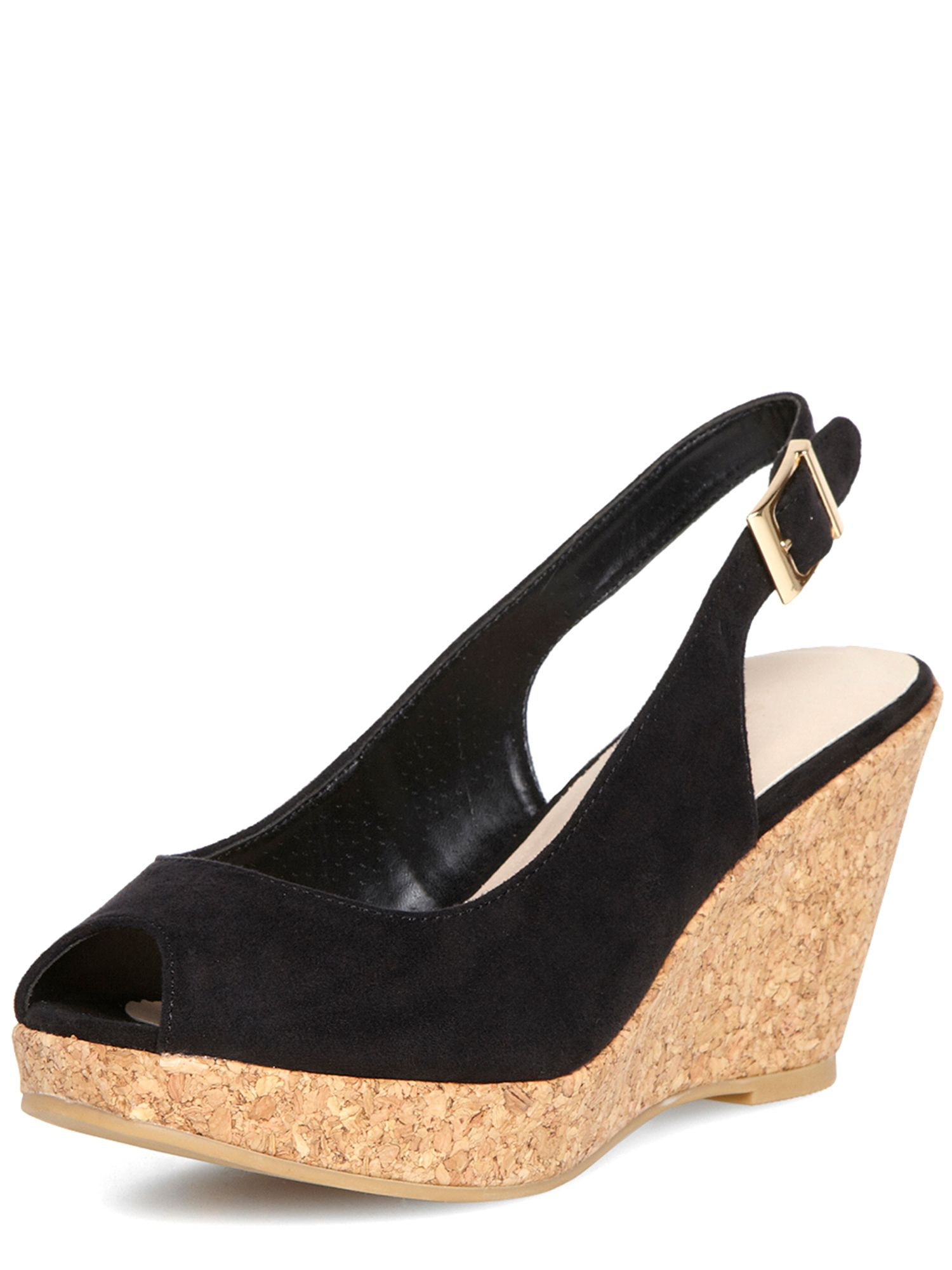 Cork Peep Toe Wedges