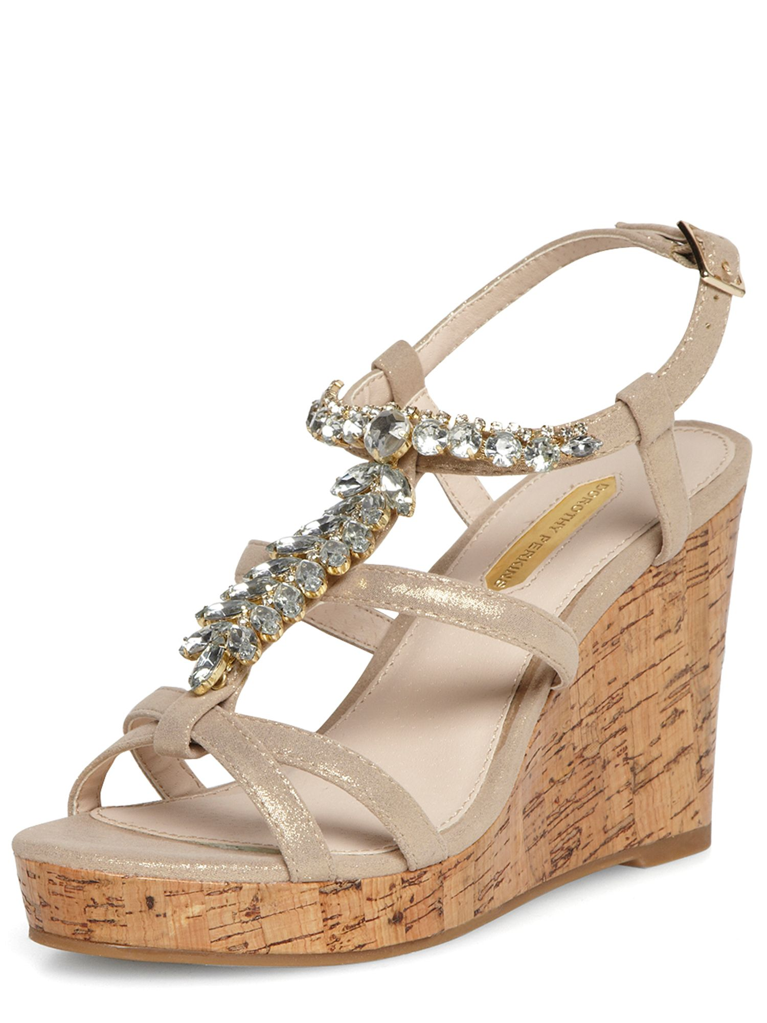 Metallic Jewel Trim Wedges