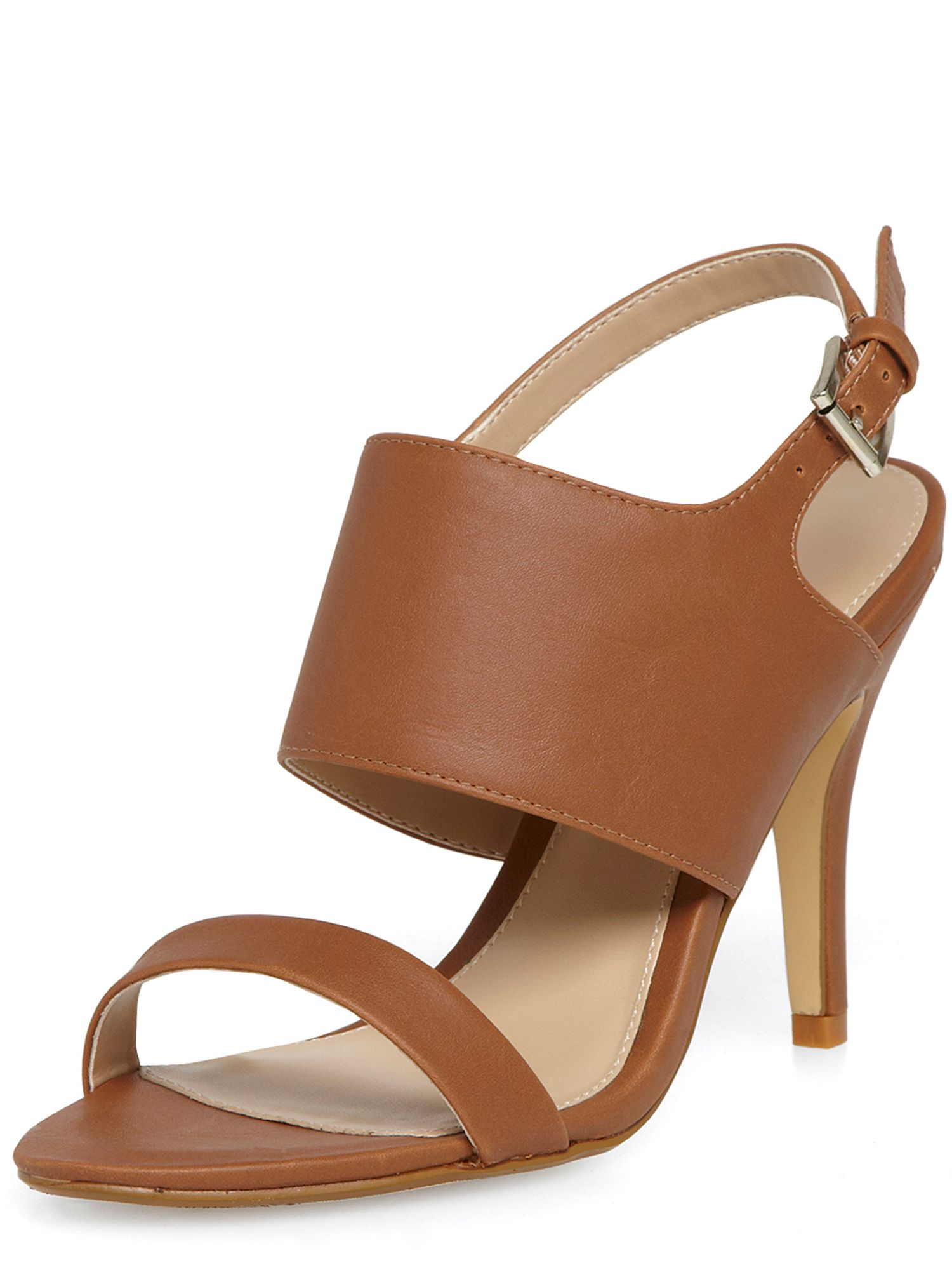 Leather Look High Heel Sandals