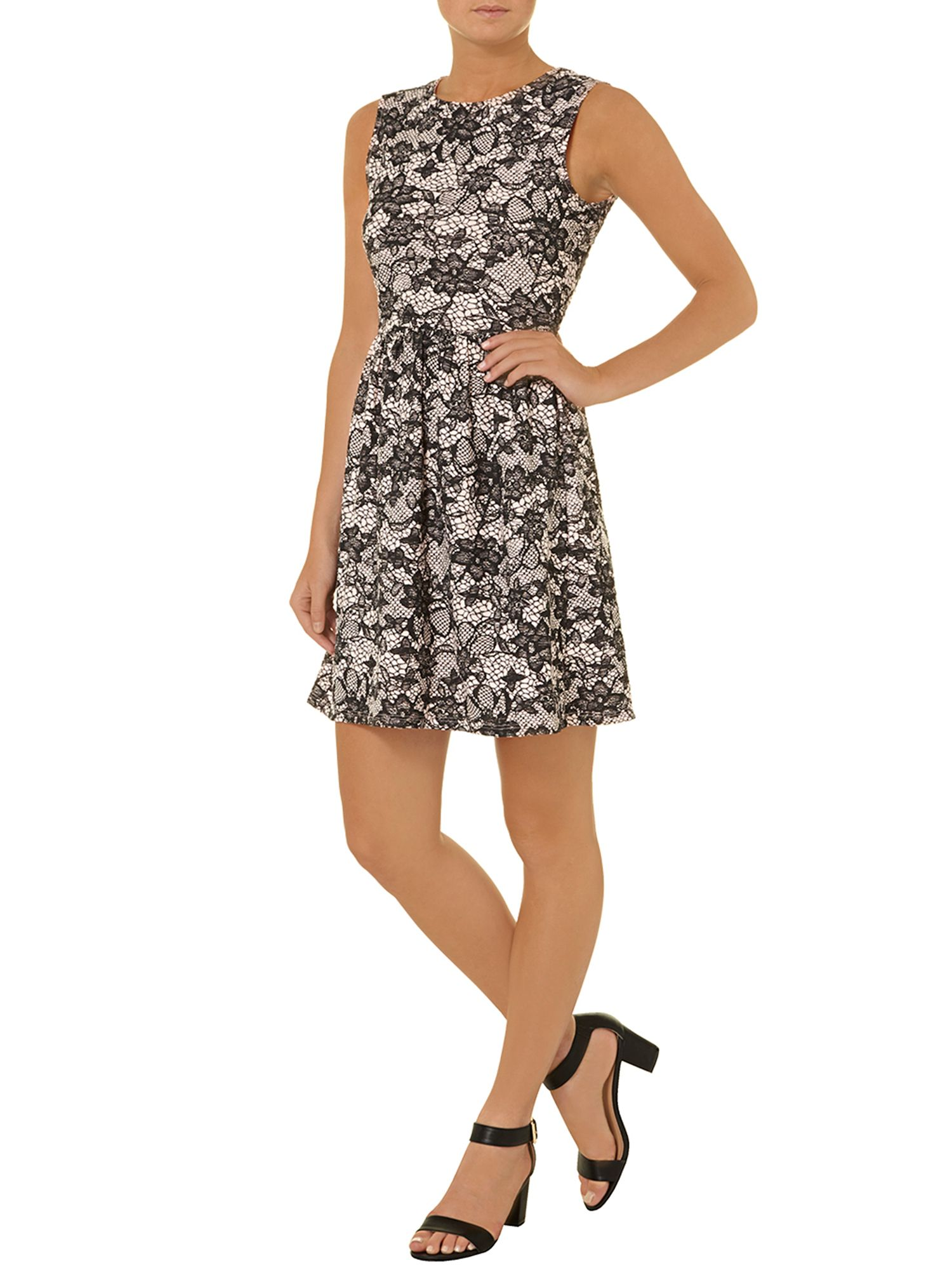 Lace print textured dress