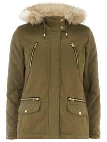 Quilted Sleeve Short Parka