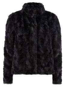 Short Zip Faux Fur