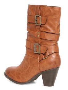 Mid Height Strappy Boots