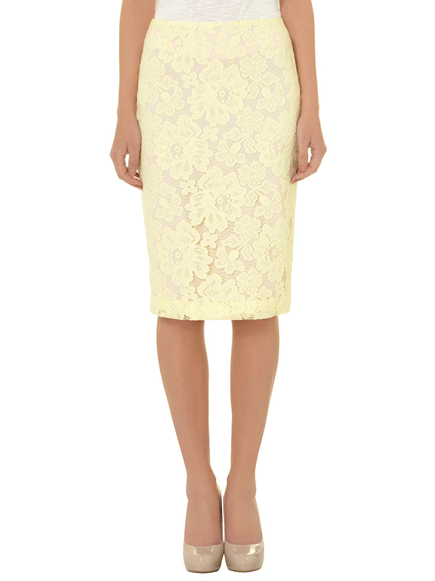 Lace fitted pencil skirt