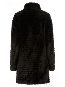 Tall Funnel Neck Faux Fur Coat