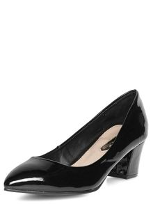Block Heel Pointed Court