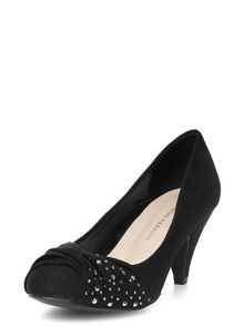 Suedette round toe court shoes