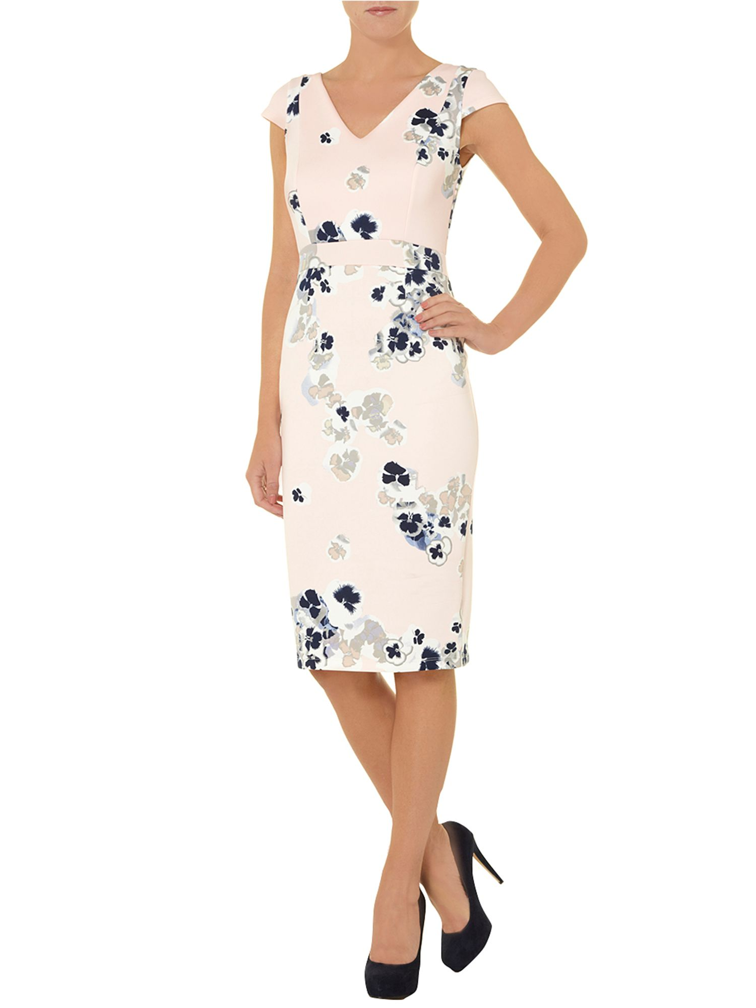 Pansy print pencil dress