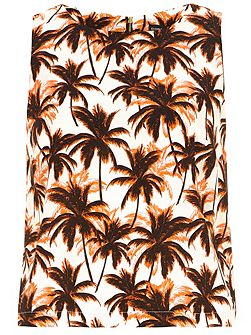 Palm tree print cropped shell top