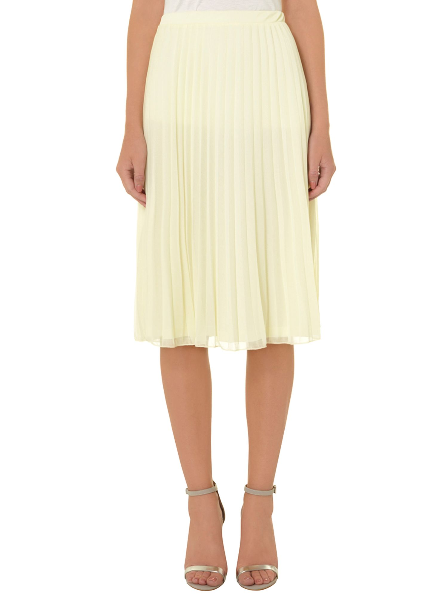 Mesh pleat midi skirt
