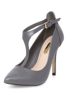 High T-Bar Detail Court Shoe
