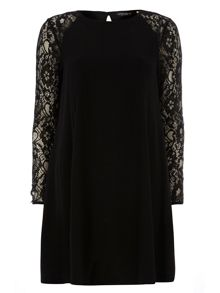 Lace Crepe Swing Dress