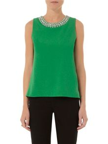 Crepe Trim Shell Top