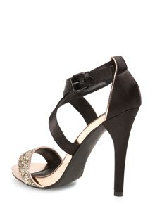 Glitter and satin strap high heel sandal