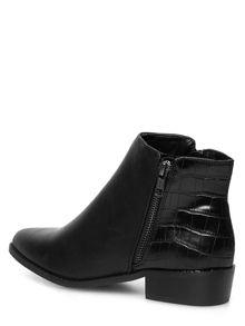 Pointed Croc Effect Ankle Boots
