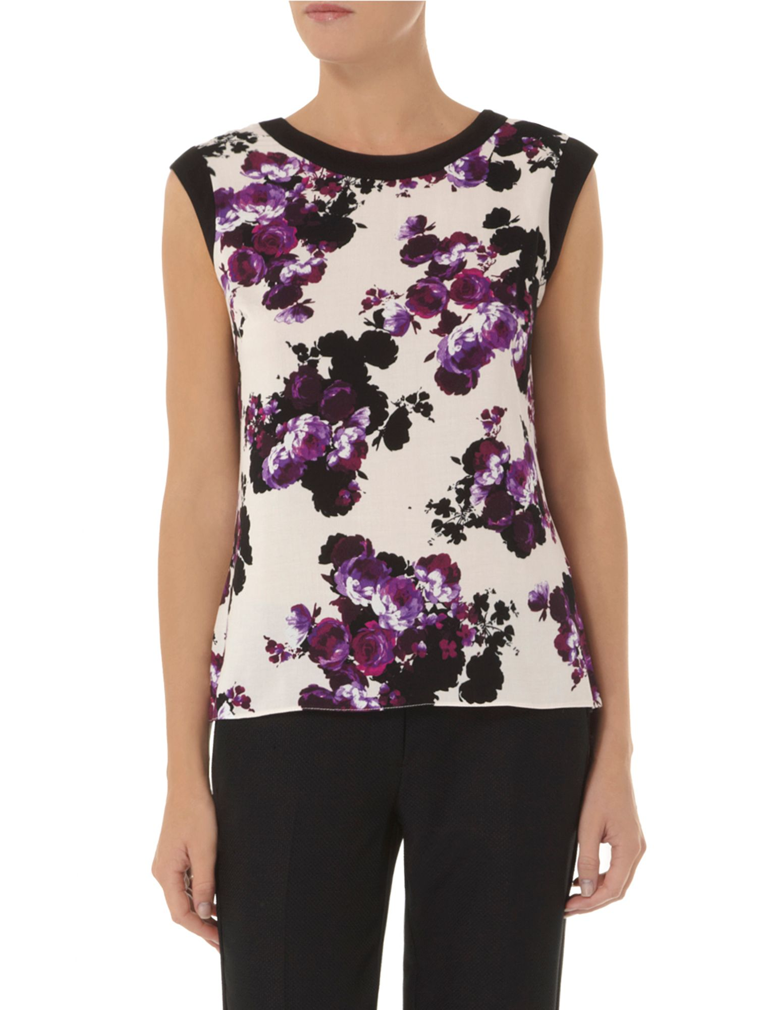 Rose Print Shell Top
