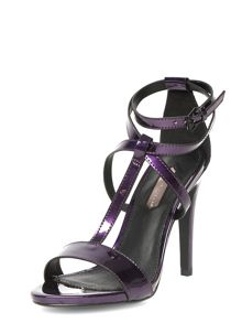 Mirror leather look high strappy sandal
