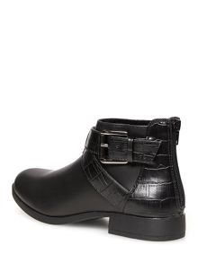 Croc Effect Strap Ankle Boots