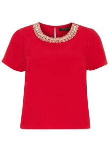 Embellished Crepe T-Shirt