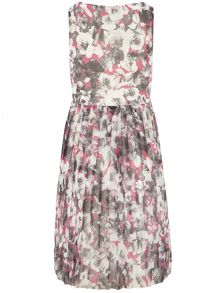 Petite Floral Pleated Dress