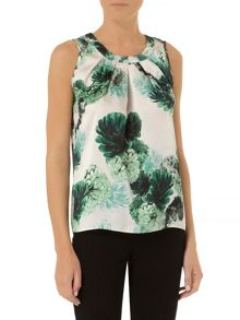Floral tie back shell top