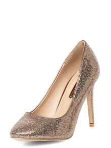 Shimmer court shoes with set back heel