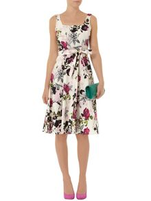 Floral Boxy Neck Poplin Dress