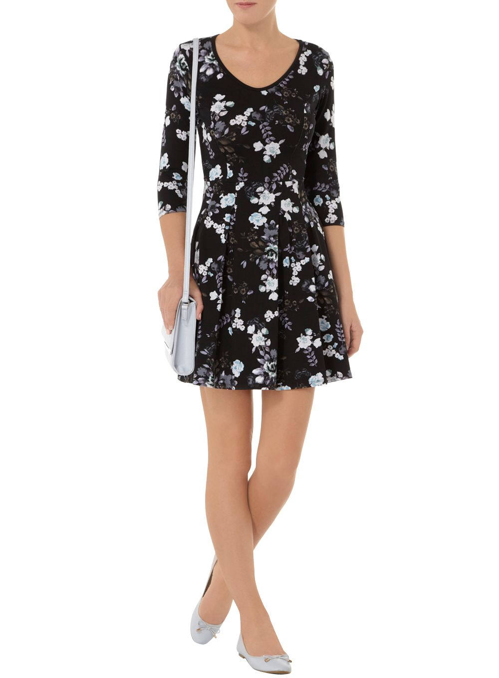 Floral 3/4 Sleeve Print Dress