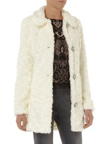 Bling Button Faux Fur Coat