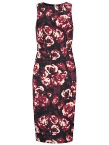 Tall Blurred Rose Printed Pencil Dress