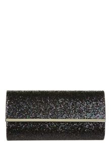 Chunky glitter clutch with chain strap