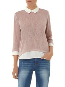 2 in 1 Collar Jersey Knit Top