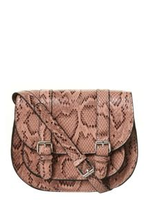 Snake Print Mini Saddle Bag