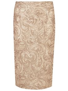 Sequin Swirl Pencil Skirt