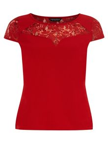 Lace Insert Sequin Top